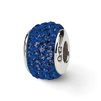 925 Sterling Silber poliert Reflexionen dunkel blau Marine voller Kristall Perle Anhänger Anhänger Halskette Schmuck Geschenke für Frauen