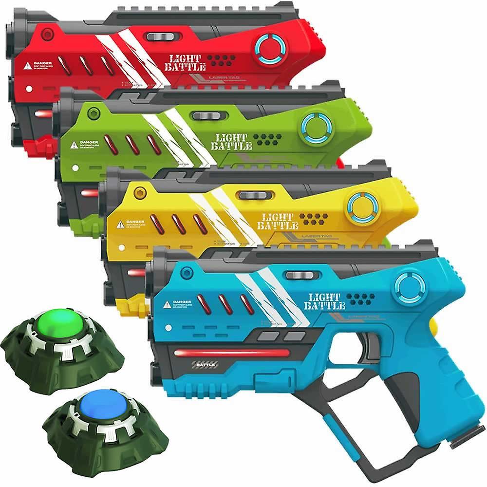 4 Anti-Cheat laserguns - geel, groen, rood en blauw + 2 targets
