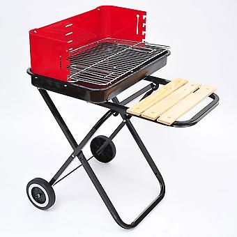 Outsunny New Foldable Barbecue Grill Cooking Charcoal Trolley with Wheels - Black/Red