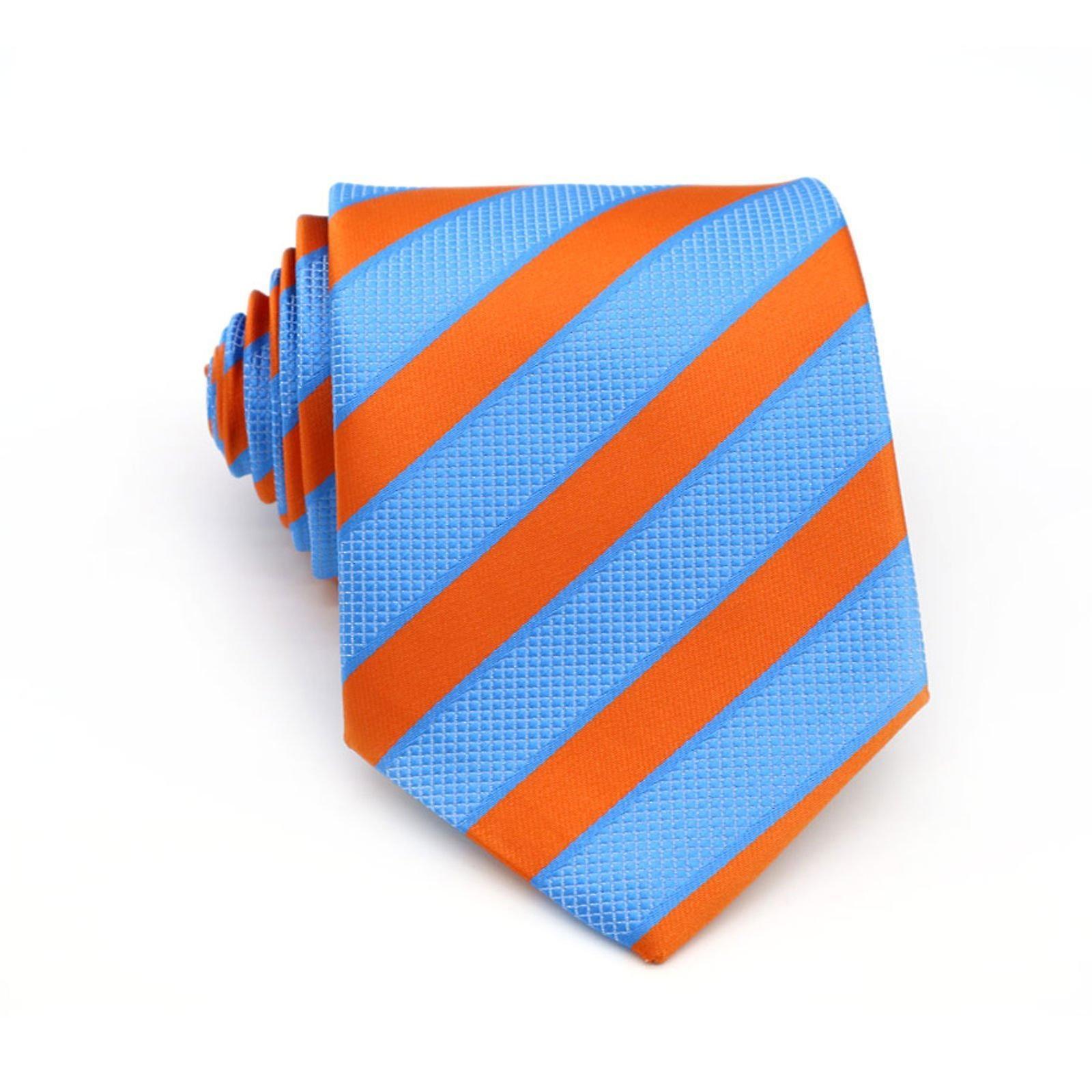 Orange & baby blue stripe tie & matching pocket square