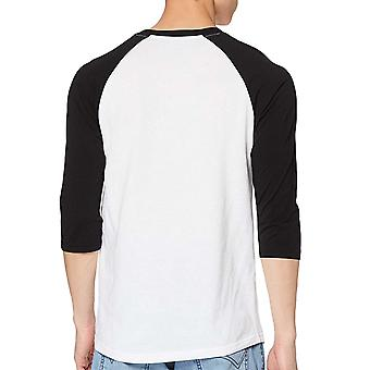 Vans Mens Off The Wall Raglan 3/4 Sleeve Crew Neck T-Shirt Top Tee - White/Black