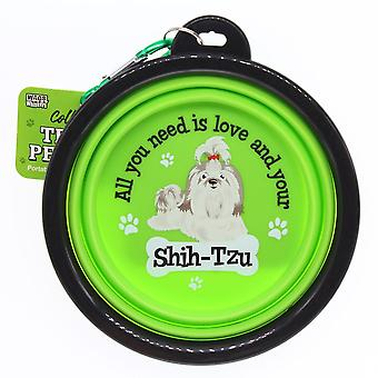 Wags & Whiskers Travel Pet Bowl - Shih- Tzu