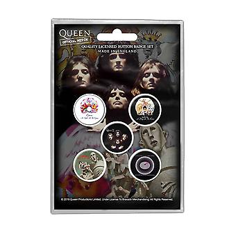 Koningin badge Pack vroege albums A Day at the races band logo nieuwe officiële 5 pack