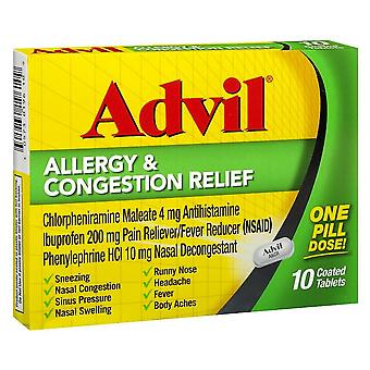 Advil allergy & congestion relief, coated tablets, 10 ea