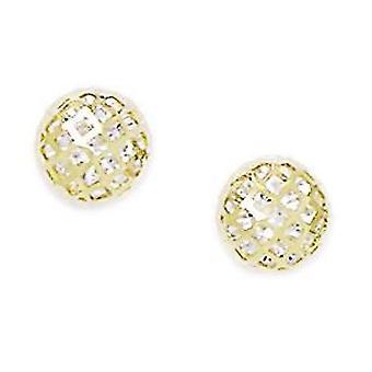 14k oro amarillo CZ Zirconia cúbica simulada diamante grande bola de cristal tornillo detrás pendientes medidas 8x8mm regalos de joyería