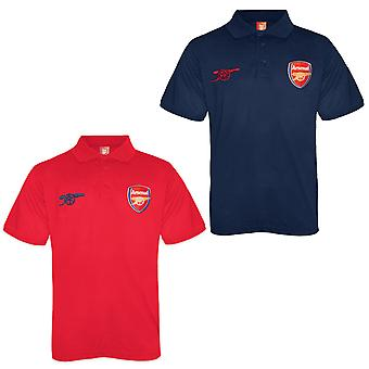 Arsenal FC Official Football Gift Boys Crest Polo Shirt Red