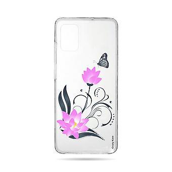 Runko Samsung Galaxy A71 joustava Lotus kukka ja perhonen