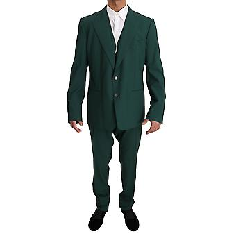 Green wool 3 piece stretch suit
