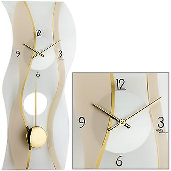 AMS 7347 Wall clock Quartz with pendulum modern curved pendulum clock with glass