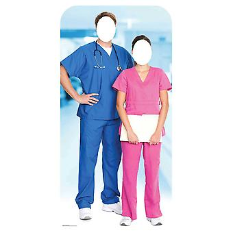 Doctor and Nurse Health Workers Stand-in Cardboard Cutout