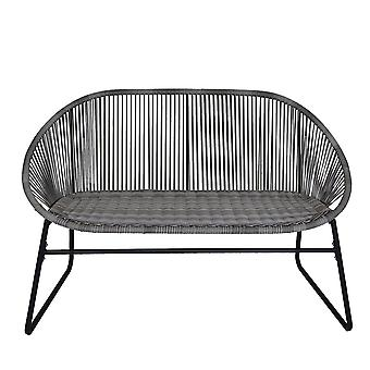 Charles Bentley Zanzibar 2 Seater Outdoor Patio Furniture Bench In Grey PE Rattan With Black Powder Coated Frame H80 x D70 x W114cm