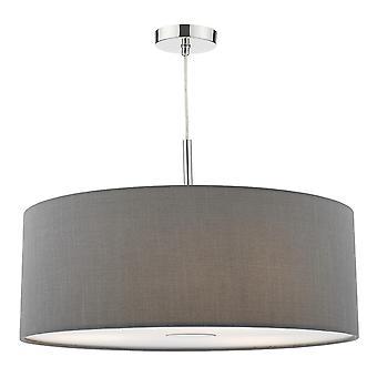 Dar éclairage Ronda trois lumière grande fausse soie pendentif en gris ardoise