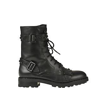 Ash Ezgl501004 Kvinnor's svarta läderkängor