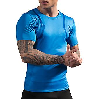 Allthemen Men's Printed Quick-Drying Elastic Short-Sleeved Sports Two-Piece Set