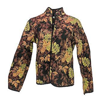 Serengeti Women's Leaf Printed Open Front Jacket Black