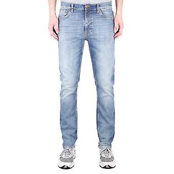Nudie Jeans Co Lean Dean Slim Fit Broken Sage Blue Denim Jeans