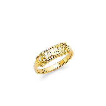 14k Sarı Altın Erkek ve Kız CZ Kübik Zirkonya Simüle Elmas Yüzük Boyut 3 - 0,7 Gram
