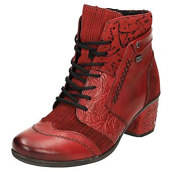 Remonte TEX D5470-35 Leather Ankle Boots Block Heel Lace Up
