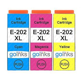 1 sæt med 3 blækpatroner til udskiftning af Epson 202XL C/M/Y-kompatibel/ikke-OEM fra Go-blæk (3 trykfarver)