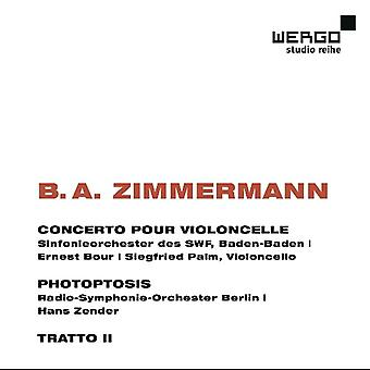 B. Zimmermann - B.a. Zimmermann: Concerto Pour Violoncelle; Photoptosis; Tratto 2 [CD] USA import