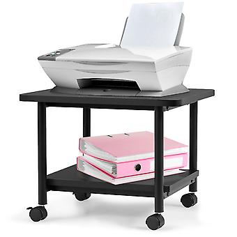 2-Tier Wood Printer Stand Desk Beside Table Underdesk Cart Wheeled Home Office