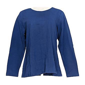 Denim & Co. Women's Top Essentials Long Sleeve Crew Neck Blue A295732