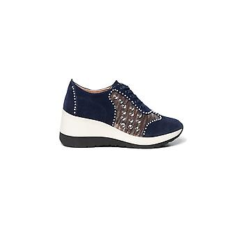 Desigual Wedge Pearl Suede Trainers with Crystal & Pearl Detail