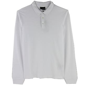 Emporio Armani Logo Langarm Polo Shirt Weiß 0100