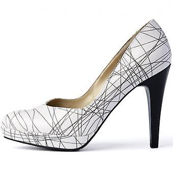 بيتر كايزر نيكس عالية كعب المحكمة الأحذية في براءات الاختراع بالأبيض والأسود