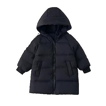 Kids Stylish Unisex Outerwear Hooded Quilt Down Padded Winter Coat - Black