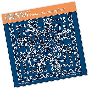 Groovi Tina's Christmas Snowflake Parchlet A6 Square Plate