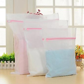Foldable Zippered Mesh Laundry Wash Bags For Bra Socks Underwear - Washing Machine Clothes Protection