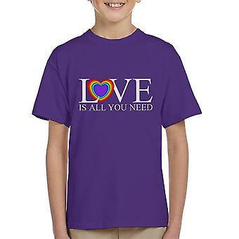 Love Is All You Need Rainbow Heart Kid's T-Shirt