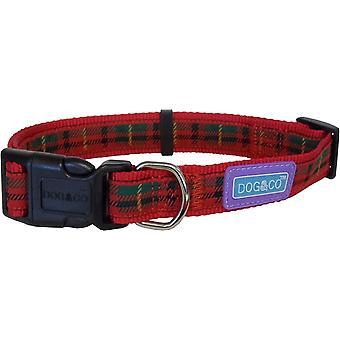 Dog & Co nylon verstelbare halsband - Tartan Red - 12mm x 25- 35cm