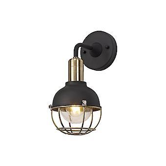 Luminosa Lighting - Lampa ścienna, 1 Light E27, IP65, Matowa czerń, Brąz szczotkowany