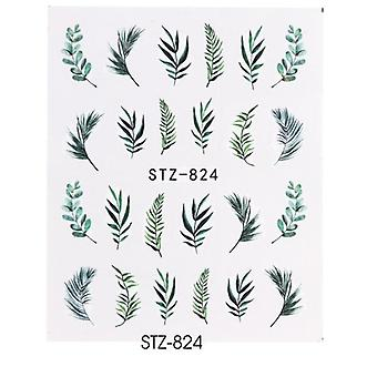 Vand Nail Decal og Sticker Flower Leaf Tree Grøn Enkel sommer skyderen til Manicure Nail Art Vandmærke Tips