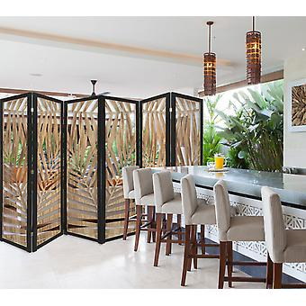3 Panel Room Divider with Tropical Leaf Design