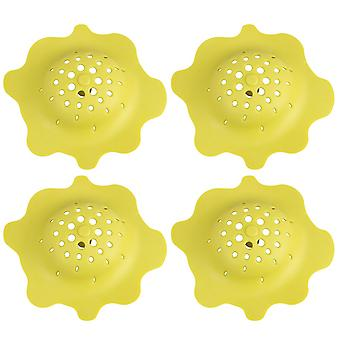 4 Pieces Durable Silicone Filter Yellow Sink Drainer for Kitchen or Bath