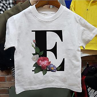 Cartoon, Flower, English Alphabet Print T Shirt Set-2