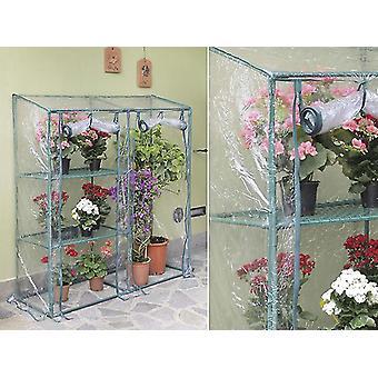 Invernadero adosado con 2 estantes, 0,48x1,43x1,52m, 0,7m², Verde/Transparente