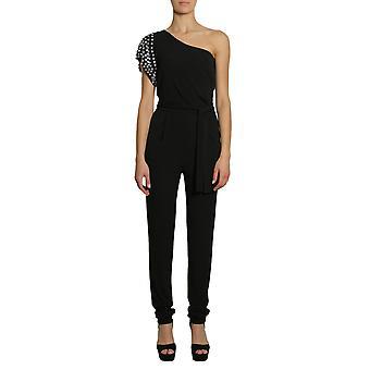 Michael By Michael Kors Mh78xm07aw001 Women's Black Viscose Jumpsuit