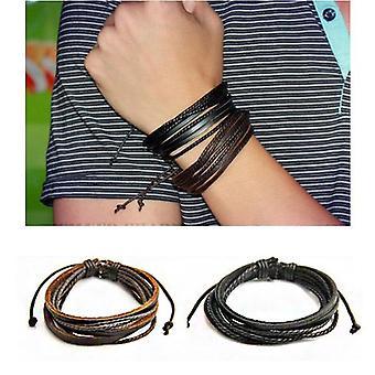 Bracelet de corde tissée en cuir multicouche de mode