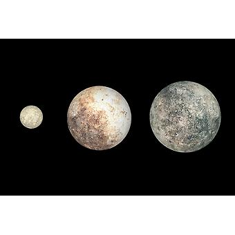 Dwarf planets Ceres Pluto and Eris Poster Print
