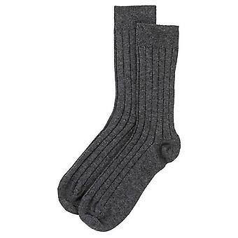 Johnstons of Elgin Ribbed Socks - Dark Granite Grey