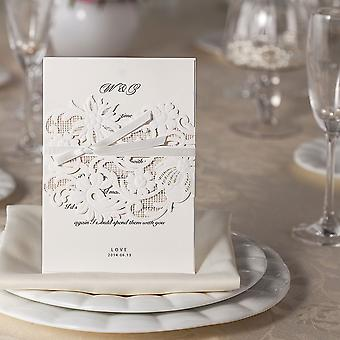 10 Band of Flowers & Ribbon White Laser Cut Invitations