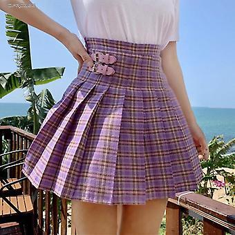 סגנון מוכן מיני קפלים חצאית נשים קיץ קזו'אל בית הספר משובץ קצר נשים