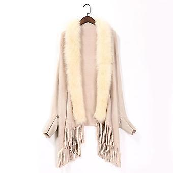Femeiăs Fake Fox Fur Coat Pulover de cașmir