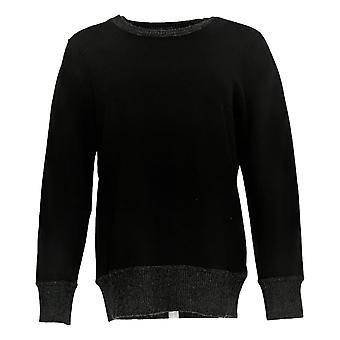 Martha Stewart Mujeres's Suéter lana cachemira Crew Cuello Negro A342446