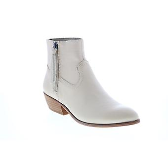 Frye & Co. Rubie Zip Bootie  Womens White Leather Ankle & Booties Boots