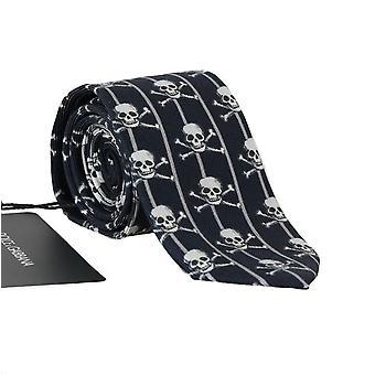 Blue silk skull striped print tie